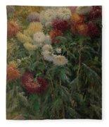 Chrysanthemums In The Garden At Petit-gennevilliers Fleece Blanket