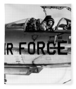 Chuck Yeager, Usaf Officer And Test Fleece Blanket