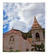 Church In Taormina Fleece Blanket