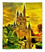 Cinderella Castle - Van Gogh Style Fleece Blanket
