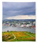 Cityscape Of Saint John's From Signal Hill Fleece Blanket