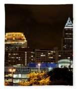 Colorful Sky Above The City On The Shore Fleece Blanket
