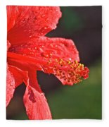 Close Up Of A Red Hibiscus Fleece Blanket