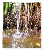 Close Up Of Waterfall Flowing Over Rocks  Fleece Blanket
