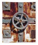 Close Up View Of An Unusual Door That Is Part Of An Old Rundown Building In Katakolon Greece Fleece Blanket