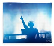 Club Dj Playing And Mixing Music For People Fleece Blanket