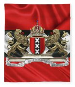 Coat Of Arms Of Amsterdam Over Flag Of Amsterdam Fleece Blanket
