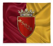 Coat Of Arms Of Rome Over Flag Of Rome Fleece Blanket