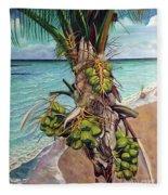 Coconuts On Beach Fleece Blanket