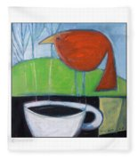 Coffee With Red Bird Fleece Blanket