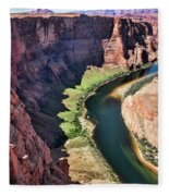 Colorado River Flows Around Horseshoe Bend  Fleece Blanket