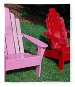 colorful Adirondack chairs Fleece Blanket