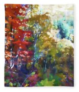 Colorful Autumn Trees In Forest Fleece Blanket