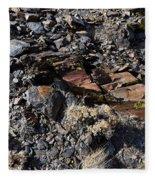 Colorful Lichens Growing On Rocks Along Monument Ridge, In The Eastern Sierra Nevadas Fleece Blanket