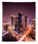 Colorful Night Dubai Marina Skyline, Dubai, United Arab Emirates Fleece Blanket