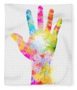 Colorful Painting Of Hand Fleece Blanket