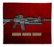 Colt  M 4 A 1  S O P M O D Carbine With 5.56 N A T O Rounds On Red Velvet  Fleece Blanket