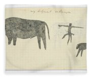 Copies After San Rock-paintings Of An Ox, A Baboon, And A Man, Robert Jacob Gordon, 1777 Fleece Blanket