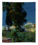Corner Of The Garden, Alcazar, Sevilla Fleece Blanket