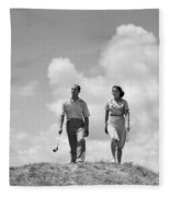 Couple Out Golfing, C.1930s Fleece Blanket