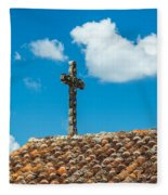 Cross And Tiled Roof Fleece Blanket