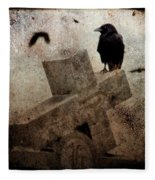 Cross With Crow Fleece Blanket