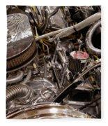Custom Car Chromed Engine Fleece Blanket