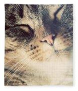 Cute Small Cat Portrait Fleece Blanket