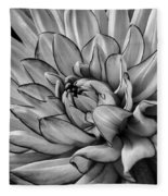 Dahlia In Black And White Close Up Fleece Blanket