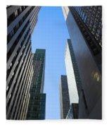 Dark Manhattan Skyscrapers Fleece Blanket