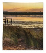 Dawn Waterscape And Wharf Fleece Blanket