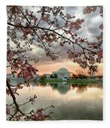 Dc Cherry Blossoms Fleece Blanket