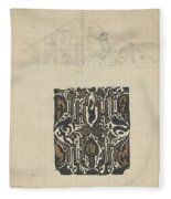 Decorative Design And Sketch Of The Front Tympanum Of The Royal Palace In Amsterdam, Carel Adolph Li Fleece Blanket