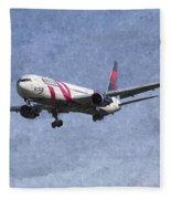 Delta Airlines Boeing 767 Art Fleece Blanket