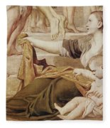 Detail Of Saint Cecilia Distributing Alms Fleece Blanket