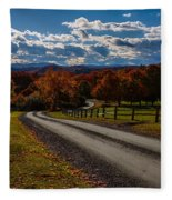 Dirt Road Through Vermont Fall Foliage Fleece Blanket