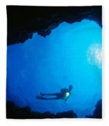 Diver At Cavern Entrance Fleece Blanket