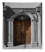 Doorway Of The Santa Teresa De Jesus Church Fleece Blanket