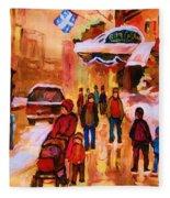 Downtown Montreal Fleece Blanket