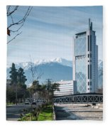 Downtown Street In Santiago De Chile City And Andes Mountains Fleece Blanket