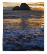Dramatic Sunset Oregon Coast Usa Fleece Blanket
