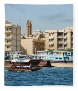Dubai Creek And Abra Boats Fleece Blanket