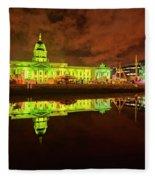 Dublin's Custom House In Green Fleece Blanket