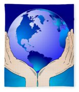 Earth In The Your Hands Fleece Blanket