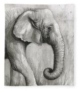 Elephant Watercolor Fleece Blanket