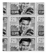 Elvis Commemorative Stamp January 8th 1993 Painted Bw Fleece Blanket