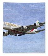 Emirates A380 Airbus Oil Fleece Blanket