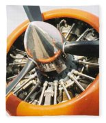 Engine And Propellers Of Aircraft Close Up Fleece Blanket