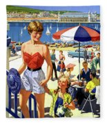 England Weston Super Mare Vintage Travel Poster Fleece Blanket