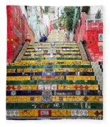 Escadaria Selaron In Rio De Janeiro Fleece Blanket